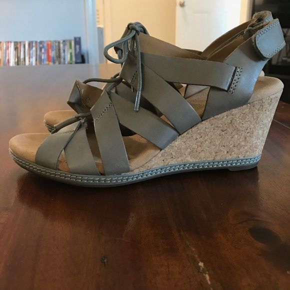 1e22f8b851c Clarks Shoes - NWOT Clarks Helio Mindin Wedge Sandals Lace Up